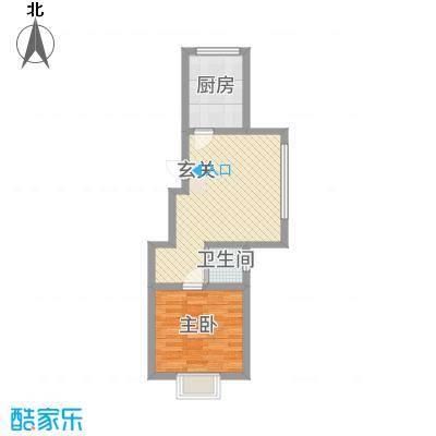 东信桃花源58.00㎡T户型1室1厅1卫