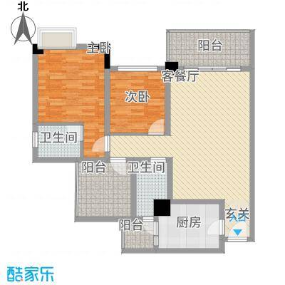 中央广场C3户型2室2厅2卫