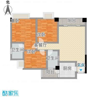 中央广场111.30㎡D1户型3室2厅2卫