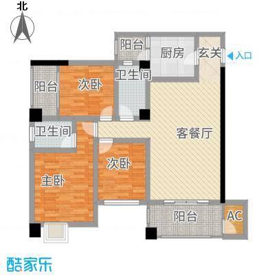 中央广场111.00㎡B3户型3室2厅2卫