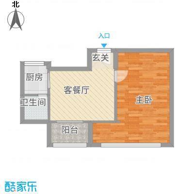 水都欣城51.72㎡5#楼-3户型1室1厅1卫1厨