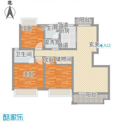 幸福壹号公馆132.00㎡一期标准层A户型3室2厅2卫1厨-副本