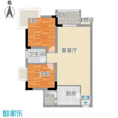 渝阳圣水明珠A4户型2室2厅1卫1厨