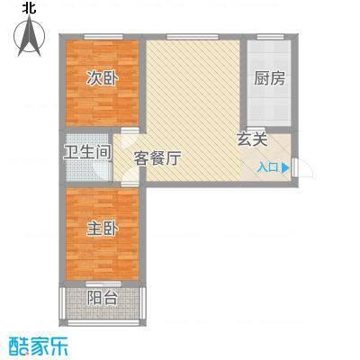 柳墅新城C3户型2室2厅1卫1厨