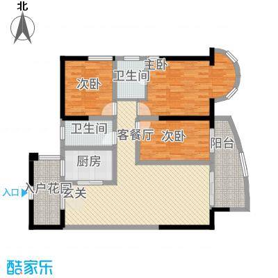 东方阁33124.52㎡A3户型3室2厅2卫1厨