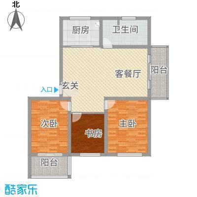 玫瑰花城11.00㎡E户型3室2厅1卫1厨