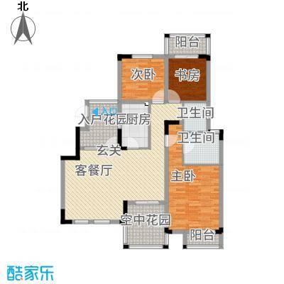 半山蓝湾135.76㎡电梯洋房D1户型3室2厅2卫1厨