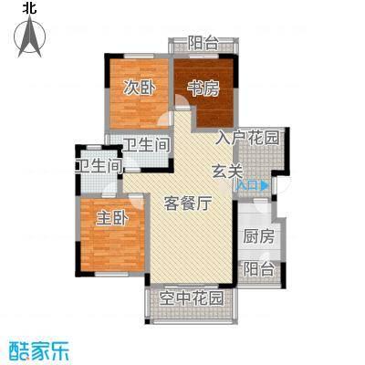 半山蓝湾121.66㎡电梯洋房D6户型3室2厅2卫1厨