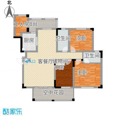 半山蓝湾137.30㎡电梯洋房D7户型4室2厅2卫1厨