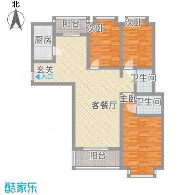 城市风情134.10㎡D户型3室2厅2卫1厨