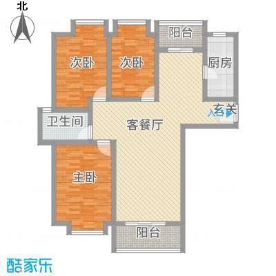 城市风情116.14㎡F户型3室2厅1卫1厨