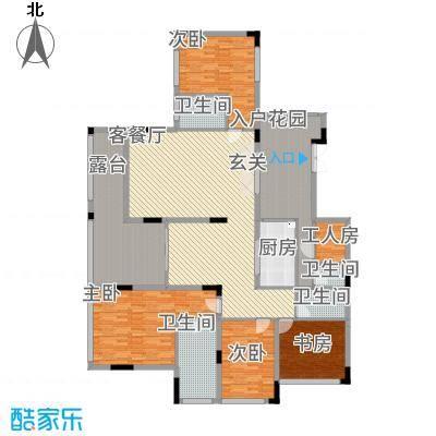 观山湖1号211.60㎡17栋平层庭院洋房4层2号户型4室2厅4卫1厨