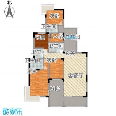 观山湖1号178.66㎡11栋平层庭院洋房3-5层一单元1号户型4室2厅3卫1厨