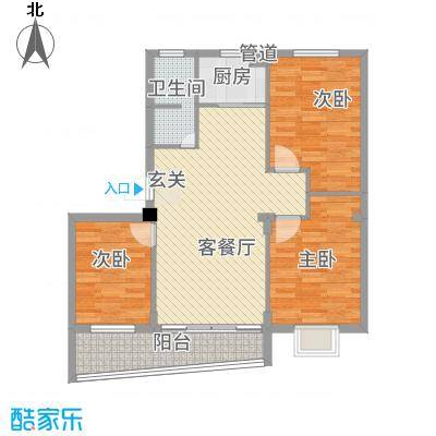 新力凤凰城16.00㎡户型3室2厅1卫1厨