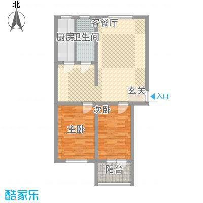 润生佳苑2.00㎡户型2室2厅1卫1厨