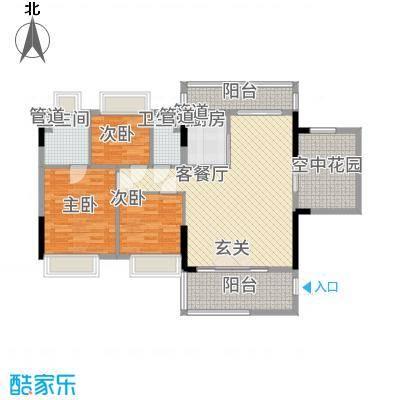 怡翠馨园115.00㎡7/8座01单位户型4室2厅2卫1厨