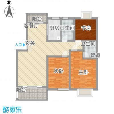 锦书清华里6#1户型3室2厅2卫1厨
