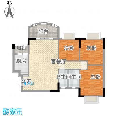 芳菲苑115.88㎡百合阁01单位户型3室2厅2卫1厨