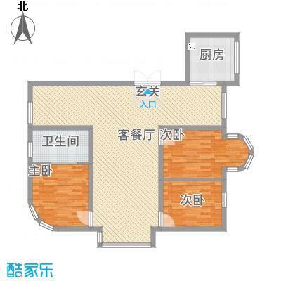 观江国际C/D座1单元2号户型2室1厅1卫1厨