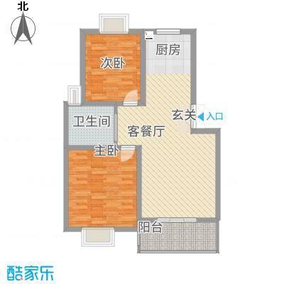 锦书清华里5#1户型2室2厅1卫1厨