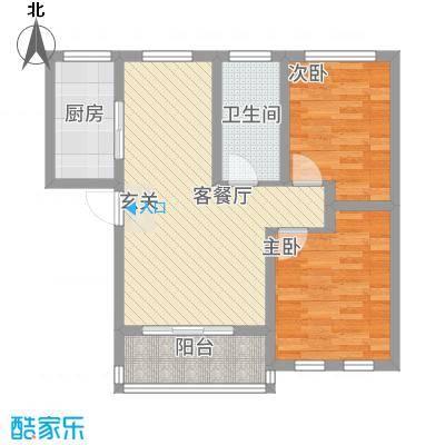 江景兰庭78.70㎡户型2室2厅1卫1厨