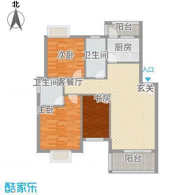 鸿欣清枫苑14.26㎡A户型3室2厅2卫1厨