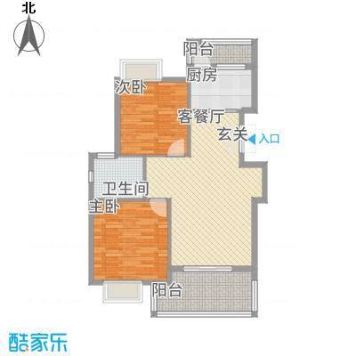 鸿欣清枫苑85.60㎡B户型2室2厅1卫1厨