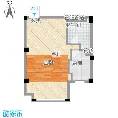 黄山天玺48.88㎡8/9/10#楼C户型1室1厅1卫1厨