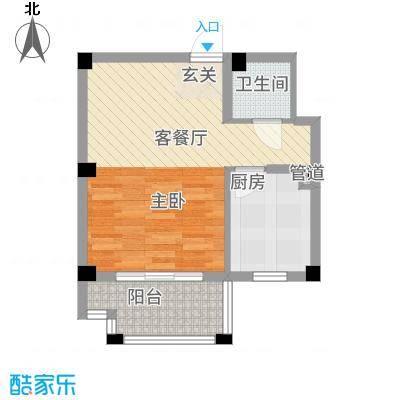 黄山天玺47.73㎡8/9/10#楼B户型2室1卫1厨