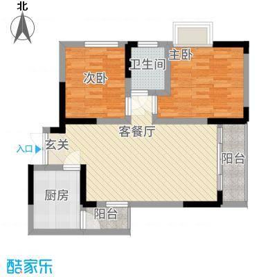 誉峰77.44㎡A2户型2室2厅1卫1厨