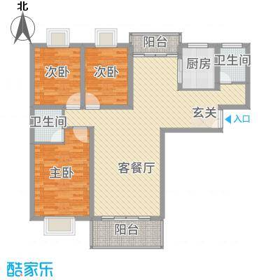 金宝莱12.00㎡A、B户型3室2厅2卫1厨