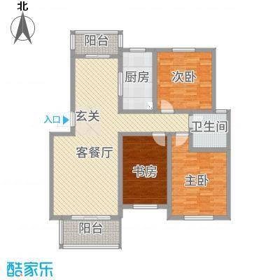 金科花园18.00㎡户型3室2厅1卫1厨