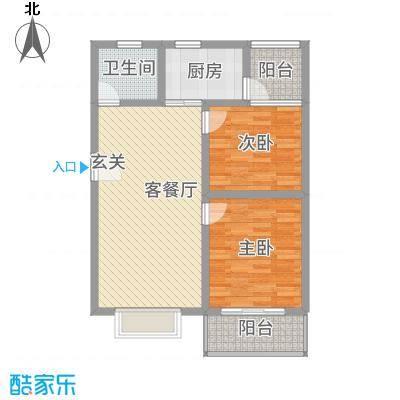 神州时代名城7.60㎡C1-3户型2室2厅1卫