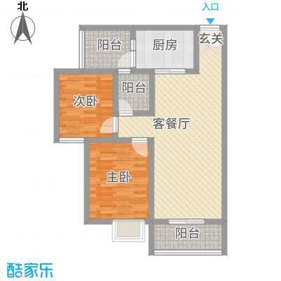 神州时代名城74.40㎡F1-2户型2室2厅1卫
