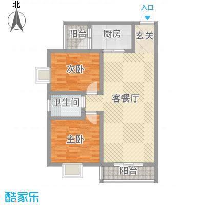 神州时代名城8.60㎡E1-2户型2室2厅1卫