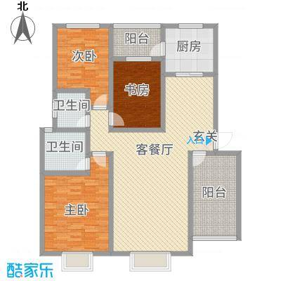 神州时代名城12.61㎡A1-1户型3室2厅2卫