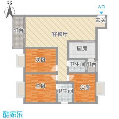 神州时代名城11.61㎡C2-1户型3室2厅2卫