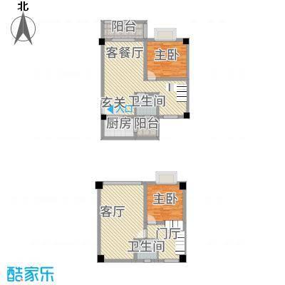 top尚城218.22㎡TOP尚城2C跃层户型2室2厅1卫1厨
