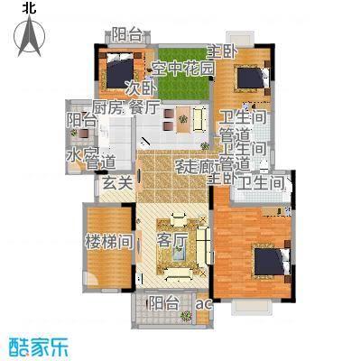 星湖尚景苑135.31㎡2号楼05户型3室2厅3卫-副本