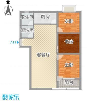 联运家园118.00㎡H户型3室2厅1卫1厨-副本