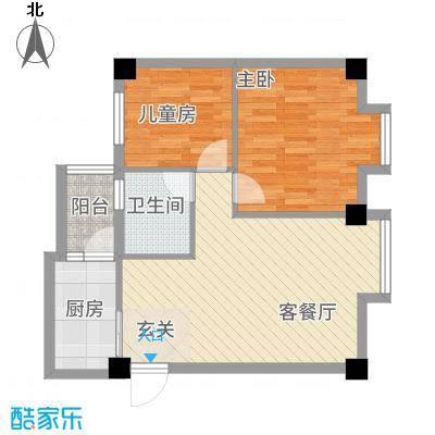 祥云阁7.70㎡B户型2室2厅1卫