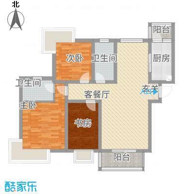 湖畔天城121.47㎡C区2#E户型3室2厅2卫1厨