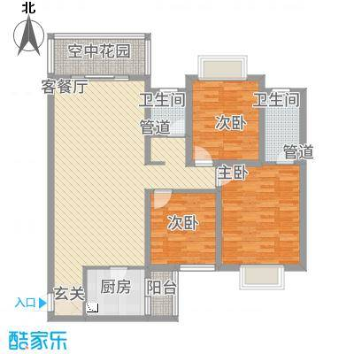 惠盛花园二期114.67㎡B-2户型3室2厅2卫1厨