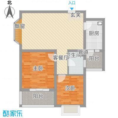 惠盛花园二期8.73㎡B-3户型2室2厅1卫1厨