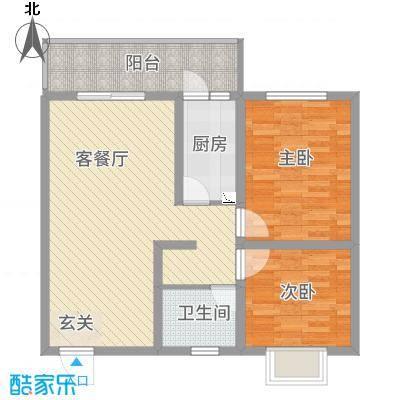 惠盛花园二期88.10㎡D户型2室2厅1卫