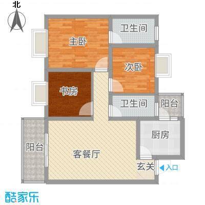 惠盛花园二期15.50㎡A1户型3室2厅2卫