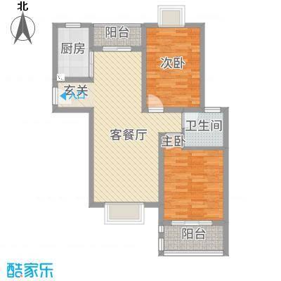 惠盛花园二期84.14㎡A-1户型2室2厅1卫1厨