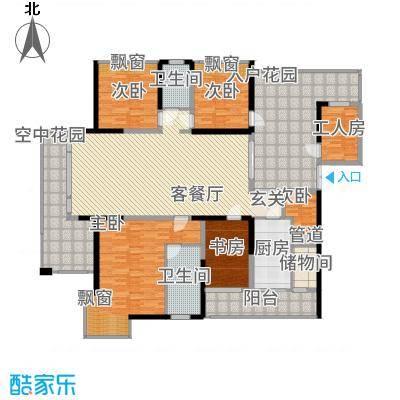 观山湖1号2.10㎡二期10栋湖景楼王偶数层D-1户型5室2厅3卫1厨