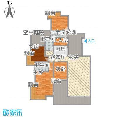 观山湖1号12.54㎡二期别院洋房15、16栋E4户型5室2厅3卫1厨