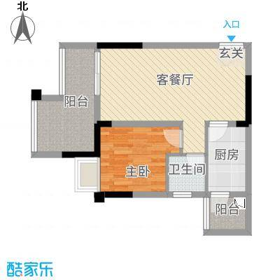 双福时代广场26.20㎡启辰2号楼B4户型
